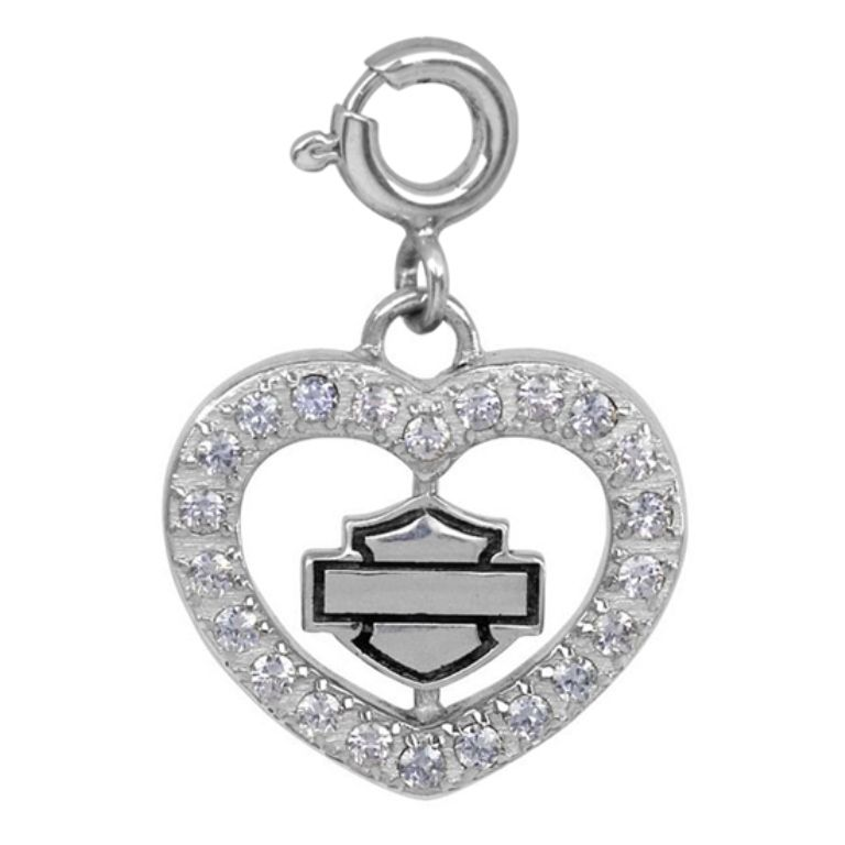 Harley Davidson Charm Bracelet: Harley-Davidson® MOD® Pave Heart Charm HDC0052