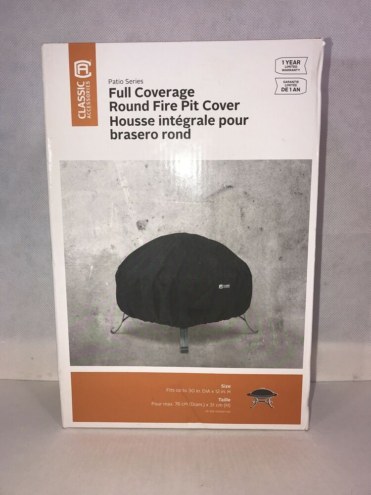 Classic Accessories Full Coverage Round Fire Pit Cover 30 Inch Water Resistant Classicaccessories Patiofurniturecovers