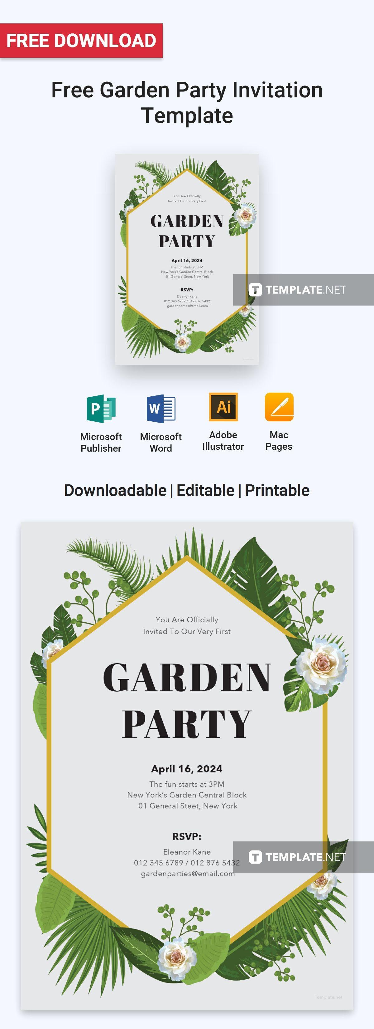 Free Garden Party Invitation | Garden party invitations, Invitation ...