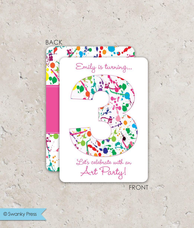 Art Party Invitation / Paint Party Invitation / Art Birthday Party ...