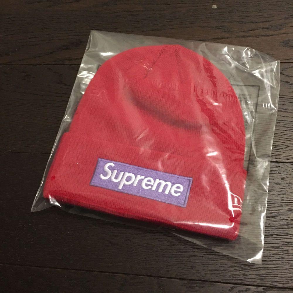 90f82d0b199 SUPREME 17 FW BOX LOGO BEANIE RED PURPLE RARE BIG S MOTION HAT CAMP CAP NYC