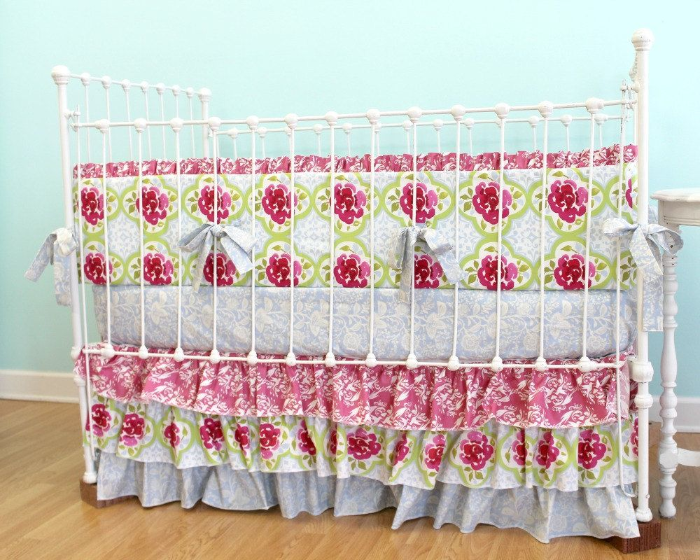 Baby Girl Crib Bedding Tea Garden by LottieDaBaby on Etsy