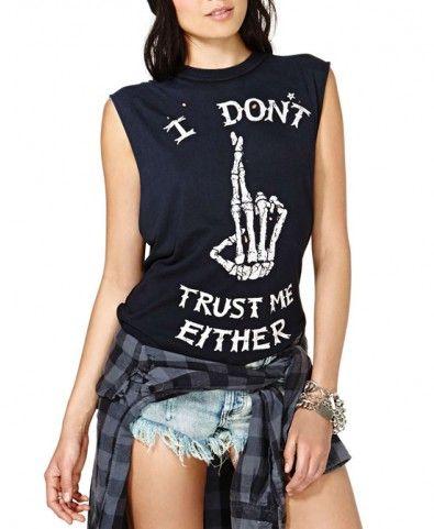 Punk Style Finger Bones Print Sleeveless Black T-shirt
