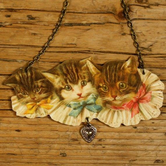 Three Kittens Necklace. Shrink plastic from mamaslittlebabies, etsy