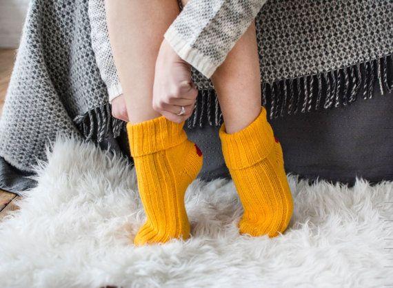 36460dc6433 Womens wool socks Girls socks Slipper socks Boot socks Yellow ...