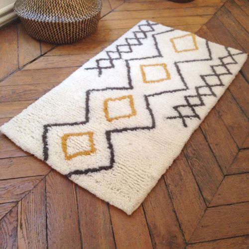 tapis descente de lit esprit berb re en laine tuft main 60x110cm pinterest tapis. Black Bedroom Furniture Sets. Home Design Ideas