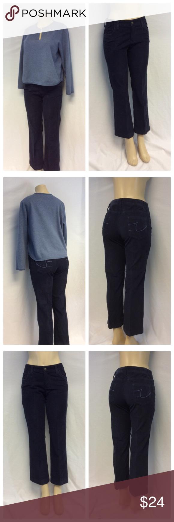 "IZOD STRETCH Black Corduroy Pants IZOD STRETCH Black Corduroy Pants, Size 8, 97% cotton, 3% spandex, machine wash. Approximate measurements are 16"" waist laying flat, 27"" inseam, 37"" waist to hem, 9"" waist to crotch, 4"" zipper. 0134 Izod Pants"