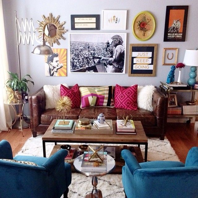 Living Room Goals Wall Collage Mural Photo Vintage Interior Design Colorful Hipster Eclectic