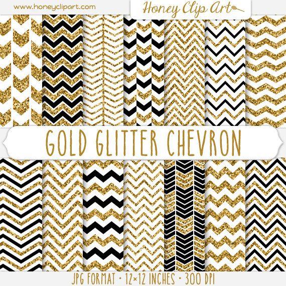 gold glitter chevron digital paper white black and