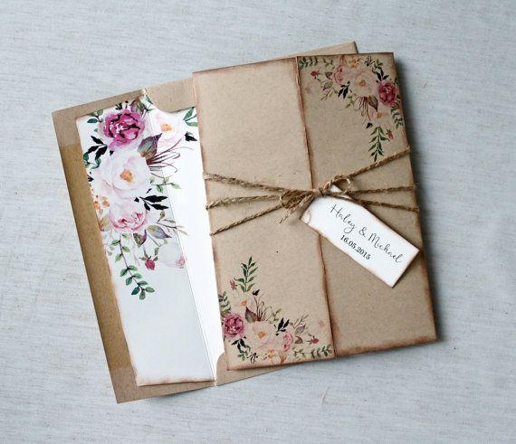 Bohemian Wedding Invitations: Floral Wedding Invitation. Rustic Wedding Invitation. Boho