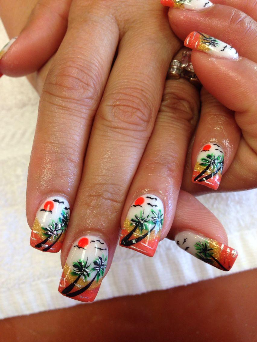 Island nails art   Pink nails and spa   Pinterest   Spring nails ...