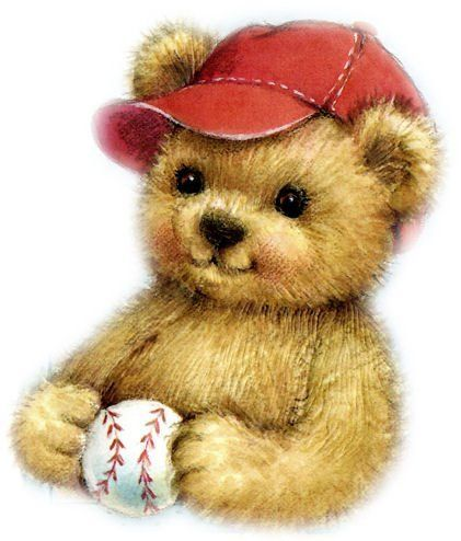 Adorable little bear with baseball cap and baseball  4566a96fd62