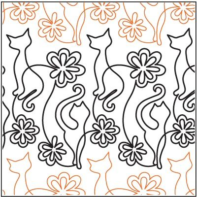 Hip Kitties quilting paper roll pantograph by Denise Schillinger ... : paper pantograph quilting patterns - Adamdwight.com