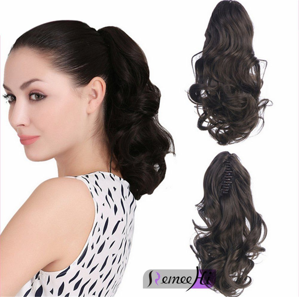 Remeehi Body Wave Real Human Hair Ponytails Hairpiece Claw Clip