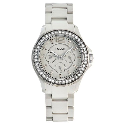 Fossil Watches, Women's Riley Ceramic Watch Stone Grey Fossil