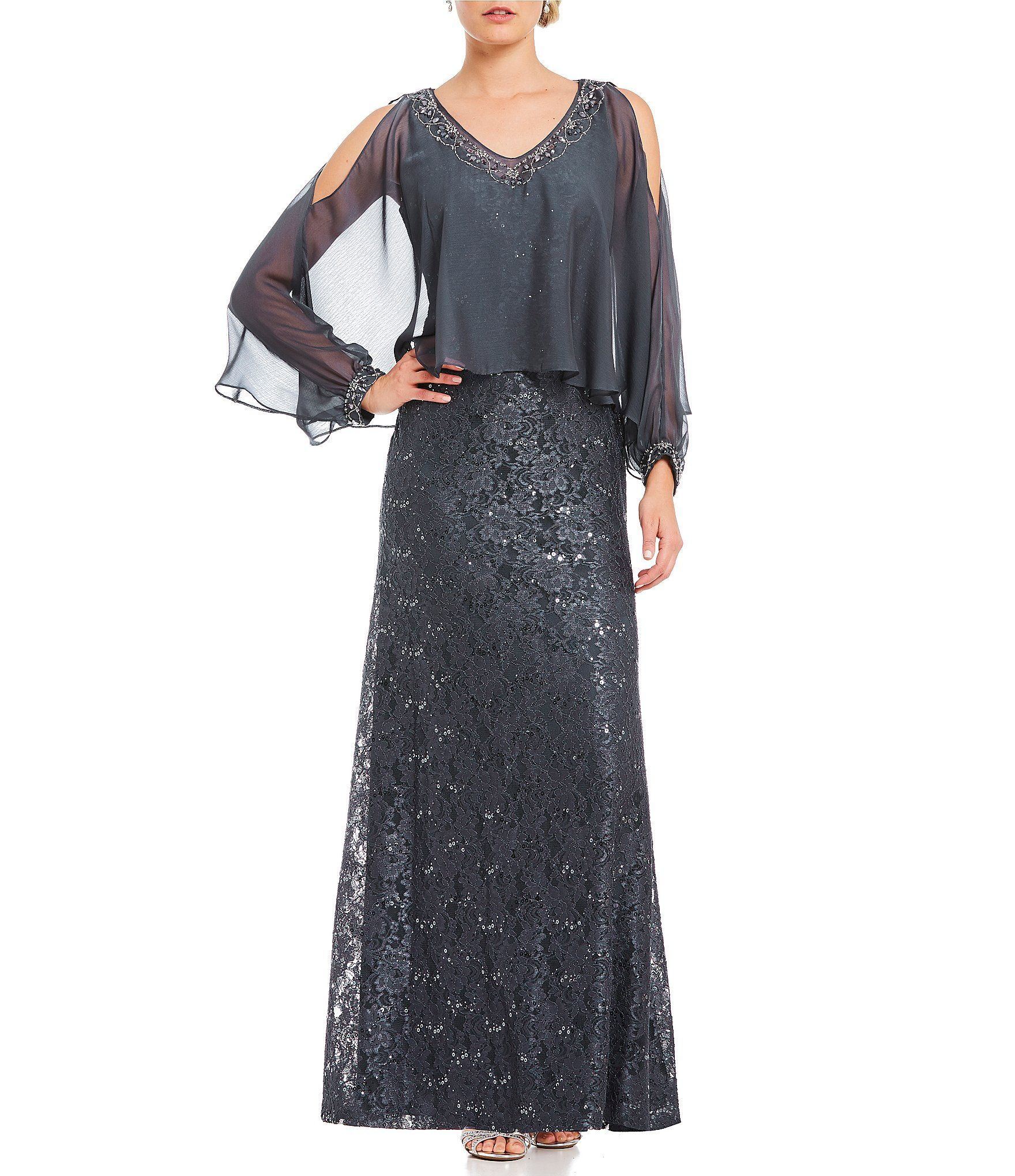 Ignite Evenings Lace Cold Shoulder Cape Gown #Dillards | Mother of ...
