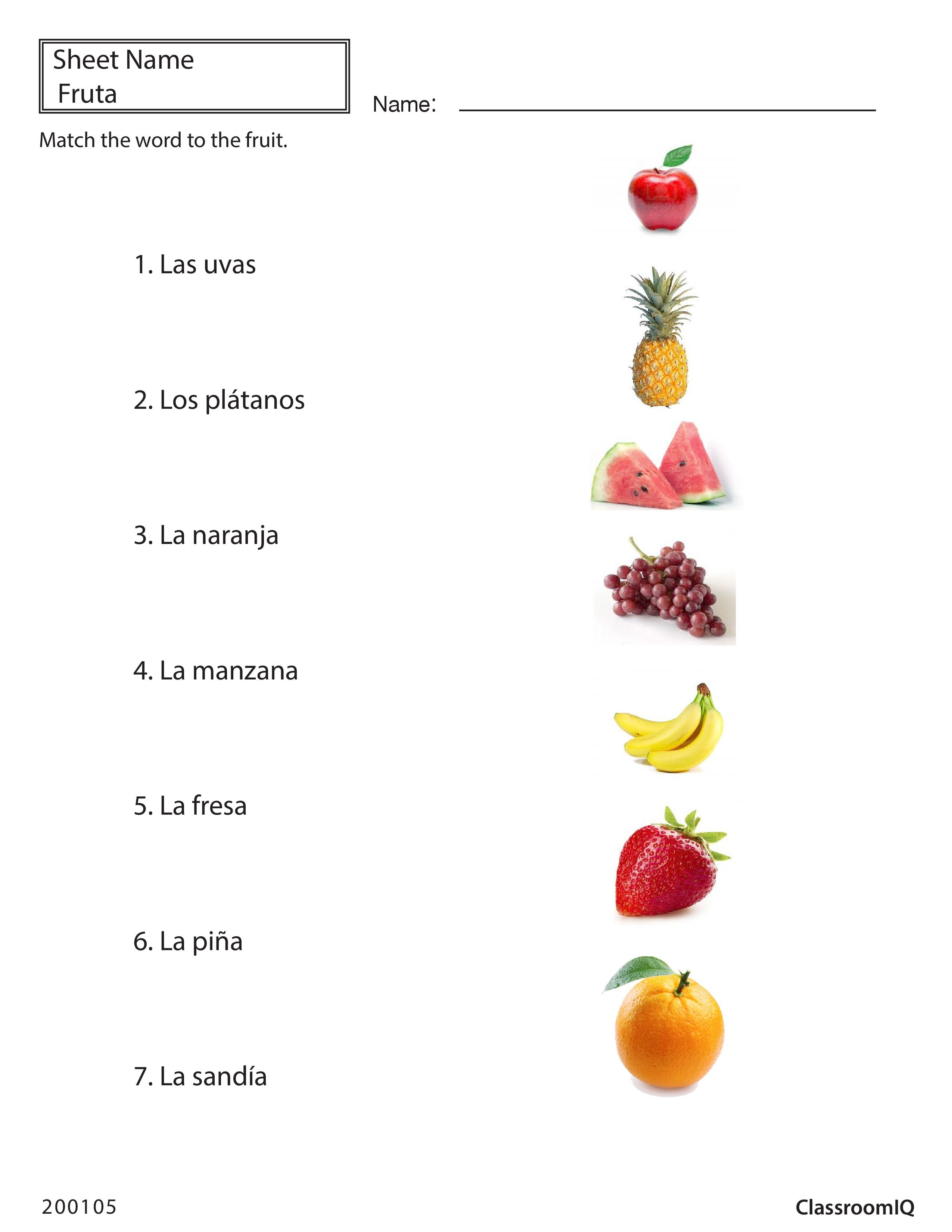 fun printable spanish food vocabulary puzzle worksheet for – Spanish Food Worksheets
