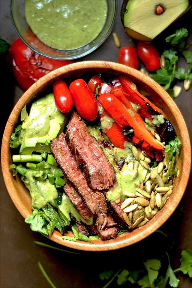Grilled Fajita Steak Salad with Avocado Cilantro Dressing | 30 EASY recipes to make for this end-of-summer Holiday weekend | Labor Day Food Ideas | Labor Day Food Ideas