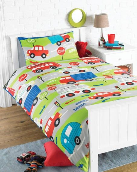 Single Bedding Duvet Set Transport Cars Theme Childrens Bedroom Accessories Duvet Bedding Quilt Cover Sets