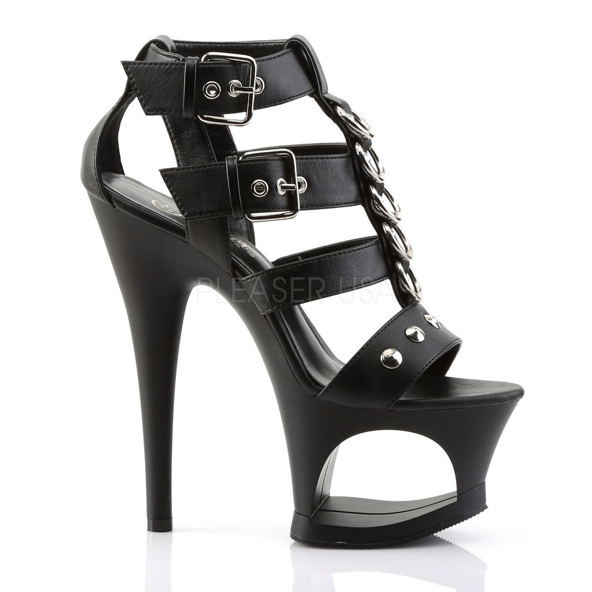 fa6615c31e6 Pleaser MOON-758 Black T-Strap Sandal in 2019