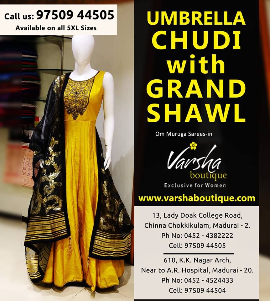 Umbrella Chudi With Grand Shawl For Sale At Varsha Boutique Available On All 5xl Sizes
