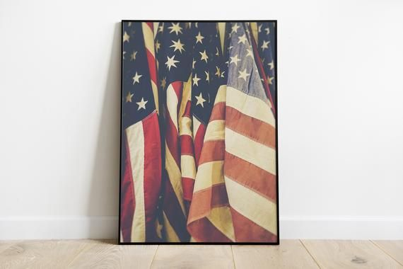 American Flag Poster, Patriotic Art, Stars and Stripes, Home Decor, American Flag Print, Fourth of July, Flag Art #americanflagart