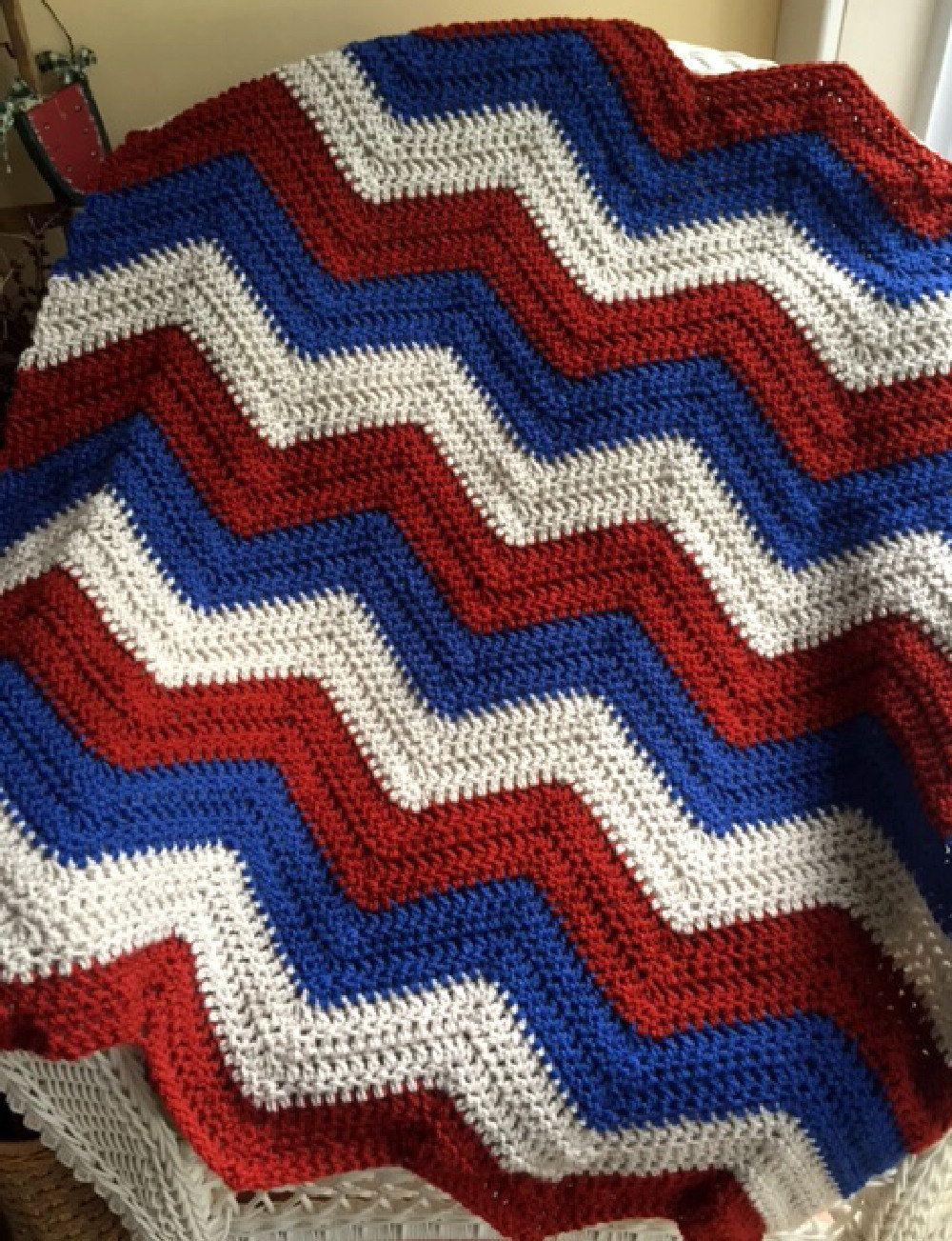 new chevron zig zag ripple baby toddler blanket afghan wrap crochet ...