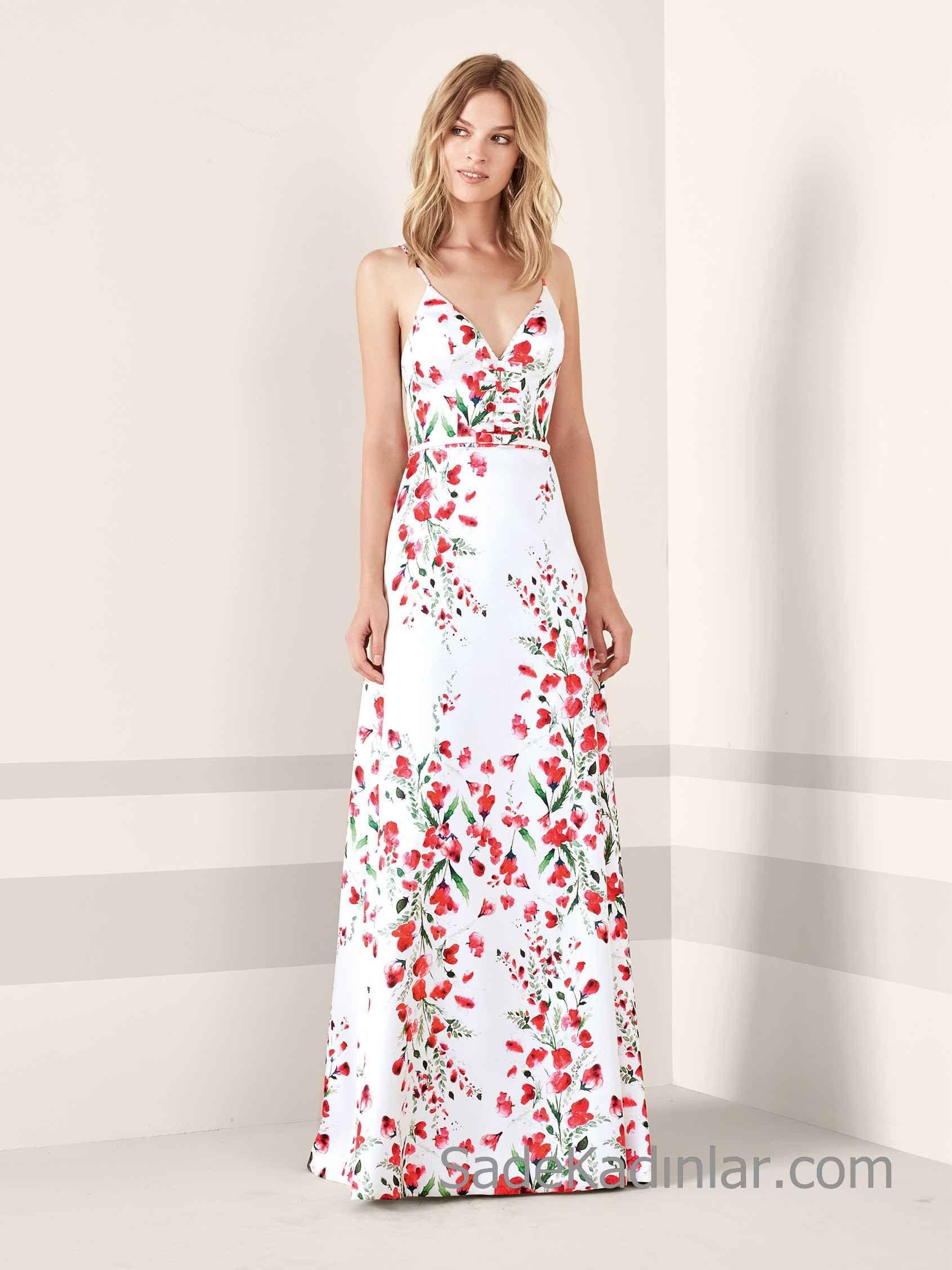 2d2de3ec77dbe Pronovias 2019 Abiye Elbise Modelleri Beyaz Uzun İp Askılı V Yakalı Çiçek  Desenli