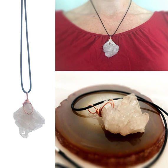 Festival Necklace Crystal Cluster Reiki Jewelry Cluster Necklace Raw Crystal Necklace Metaphysical Jewelry Quartz Necklace Good Vibes