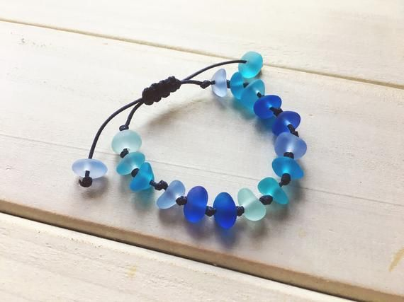 Photo of Handmade Blue Sea Glass Bracelet, Adjustable String Knot Sennit Bracelet,  Beach Glass Jewelry, Marine Style Jewelry