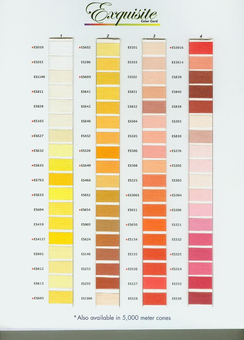 Exquisite Poly Thread Color Chart Page 1