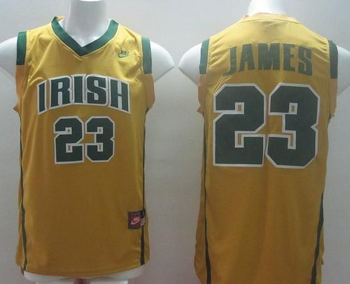 1553a5ea1 Fighting Irish  23 Lebron James Yellow Basketball Stitched NCAA Jersey