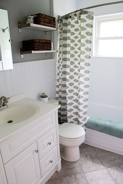 Bathroom Redo: Grouted Peel And Stick Floor Tiles /Remodelaholic/