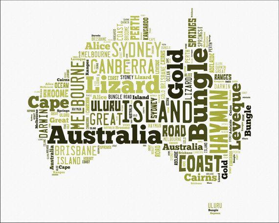 Australia Word Map.Australia Word Cloud Map Typography Custom Maps Wall Map Sydney