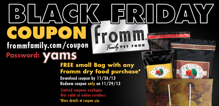 FROMM Family Pet Food BOGO Black Friday Coupon Family