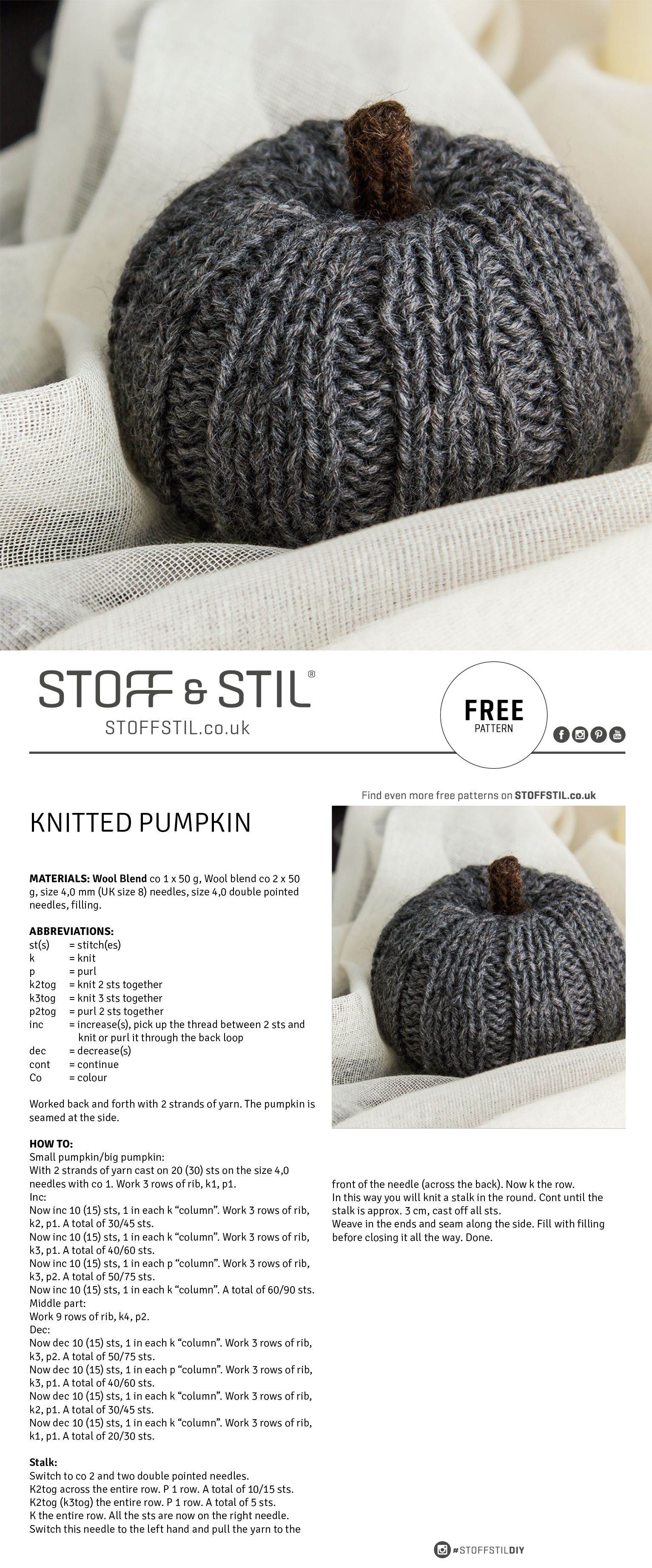 Free pattern for a knitted pumpkin #pumpkin #knitted #halloween ...