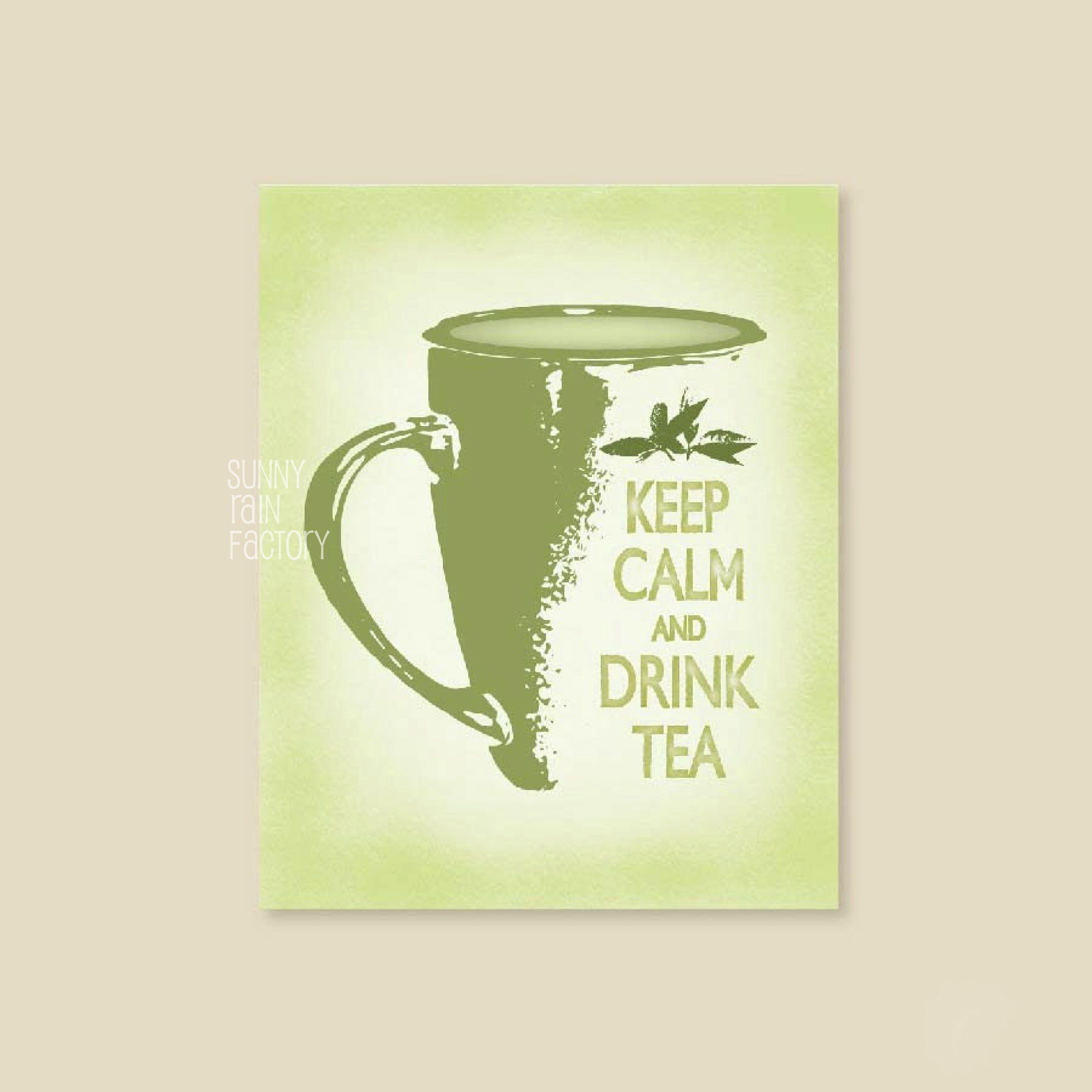 Keep calm and drink tea kitchen poster, tea art print, tea wall ...