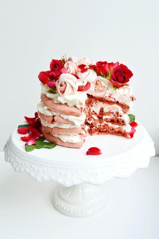red velvet rose pavlova + cream cheese rose whipped cream | valentine's