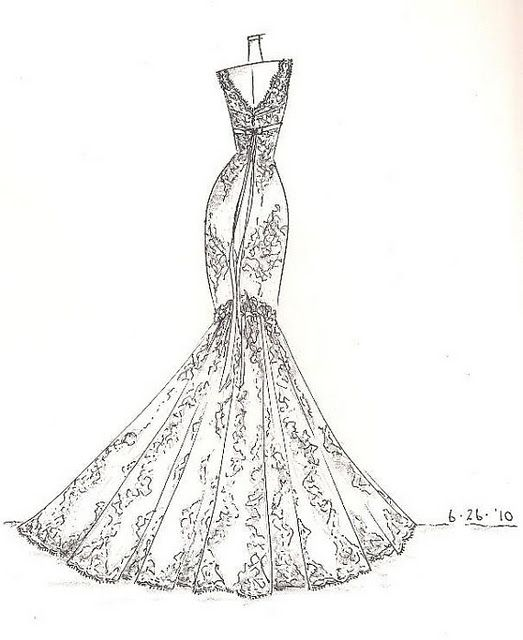 Custom Wedding Dress Sketch | Design PINspiration | Pinterest | Dress Sketches Dress ...