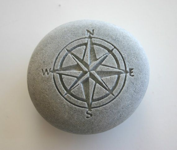 Compass Rose Engraved Stone Nautical River Rock By