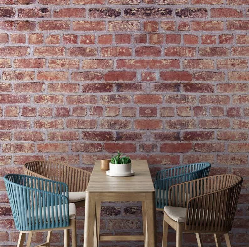Removable Wallpaper Red Brick Wallpaper Self Adhesive Etsy Removable Wallpaper Brick Wallpaper Red Brick Wallpaper