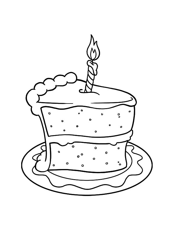 Cake Slice With Candle On It Coloring Pages Best Place To Color Birthday Coloring Pages Happy Birthday Coloring Pages Food Coloring Pages
