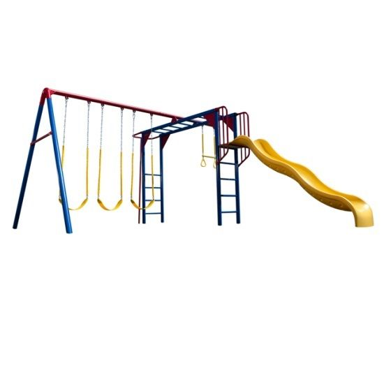 Lifetime Products Monkey Bar Adventure Swing Set Metal Playset With Swings  90177