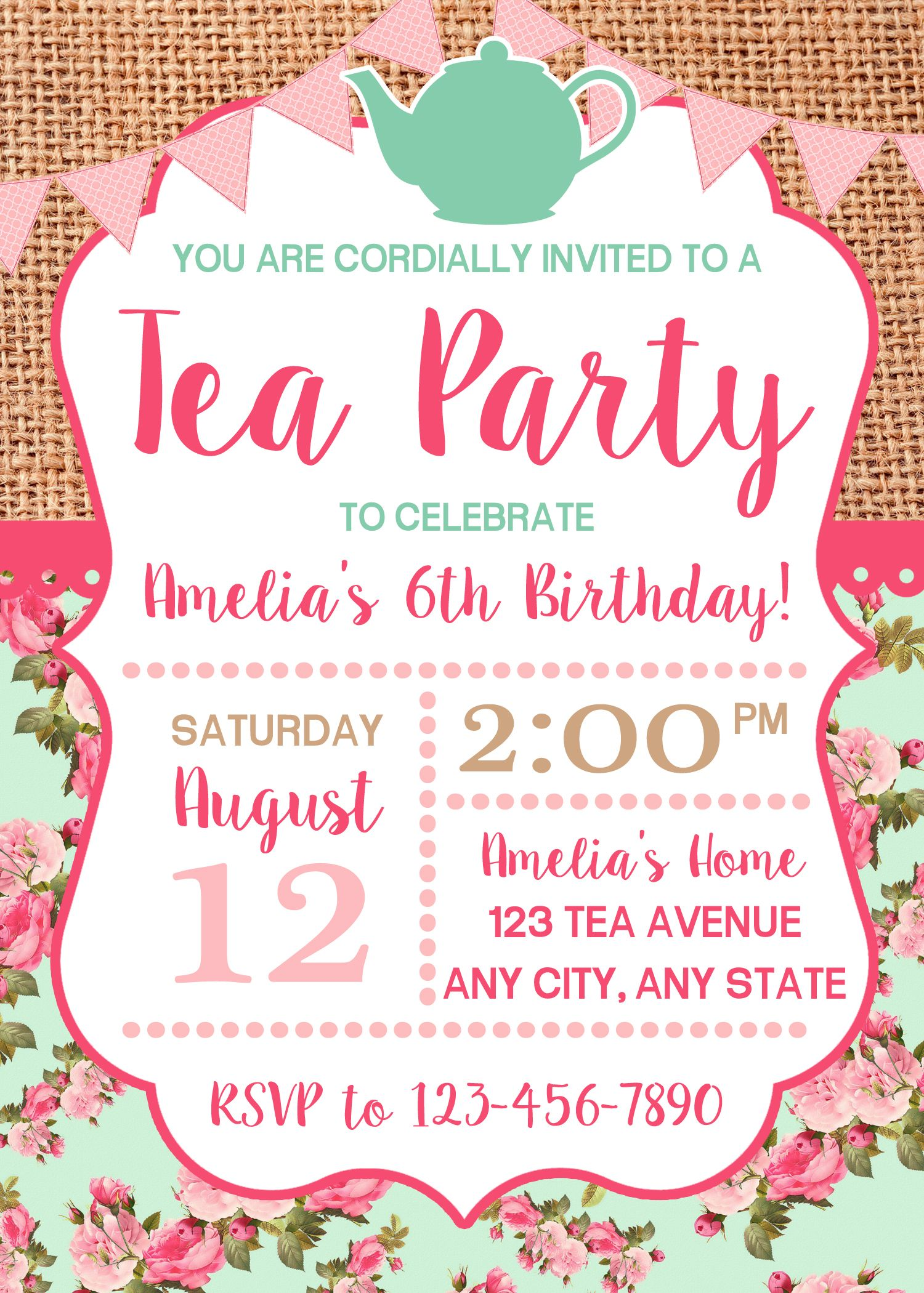 Tea Party Invitation, Birthday Tea Party, Shabby Chic Invitation ...