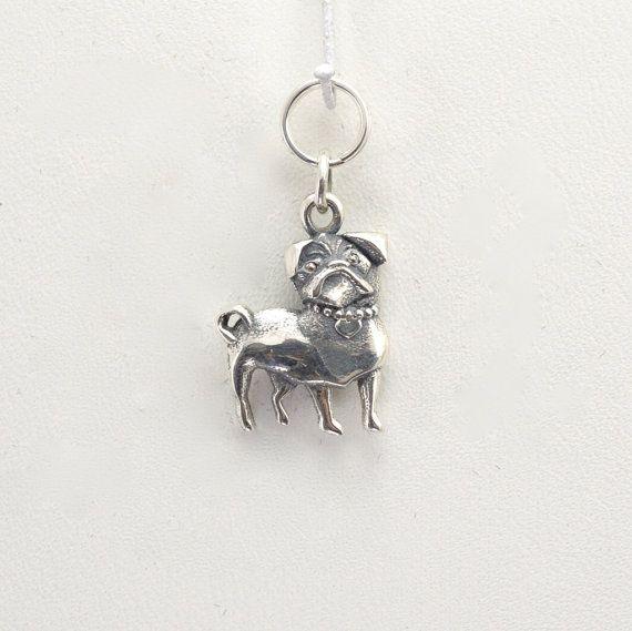 Sterling Silver Pug Charm Silver Pug Pendant Sterling Silver Pug