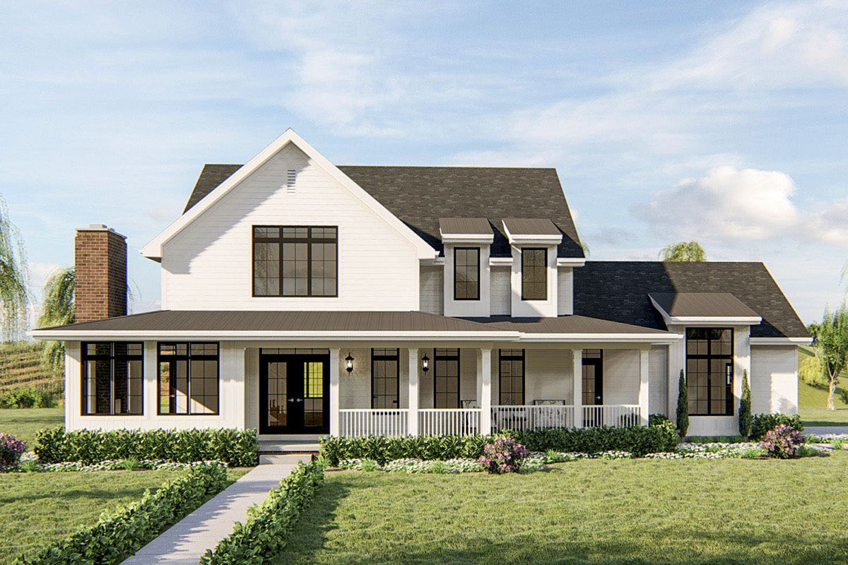 4bed southern farmhouse plan with large covered front