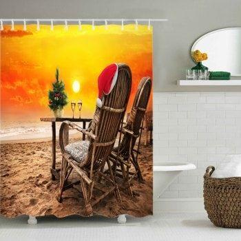 christmas sunset beach print waterproof fabric shower
