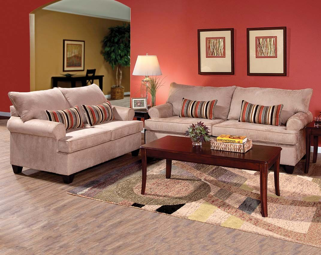 This sienna mocha sofa and loveseat set creates the for Neutral color furniture