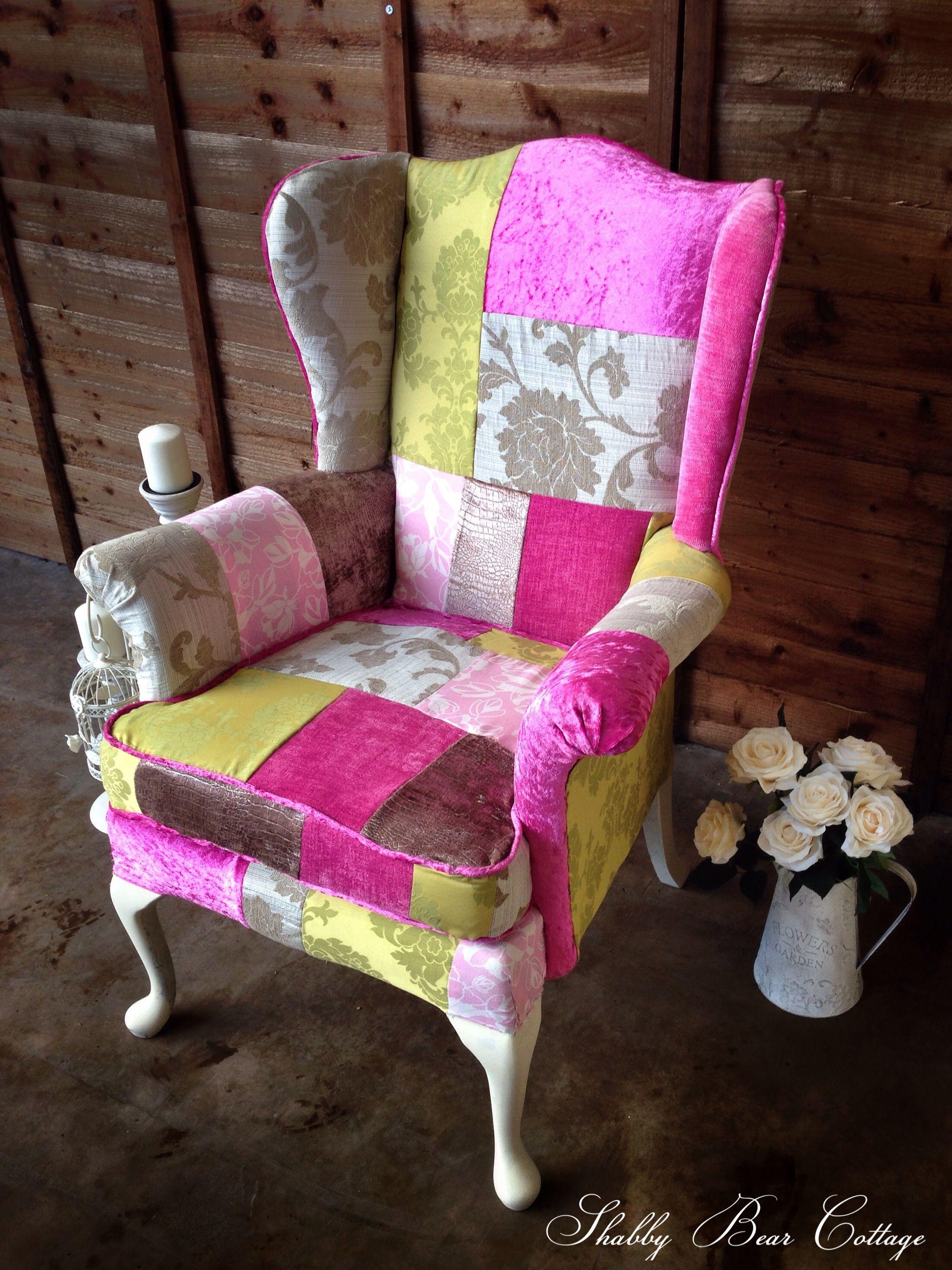 Patchwork Parker knoll wingback chair in designer velvet