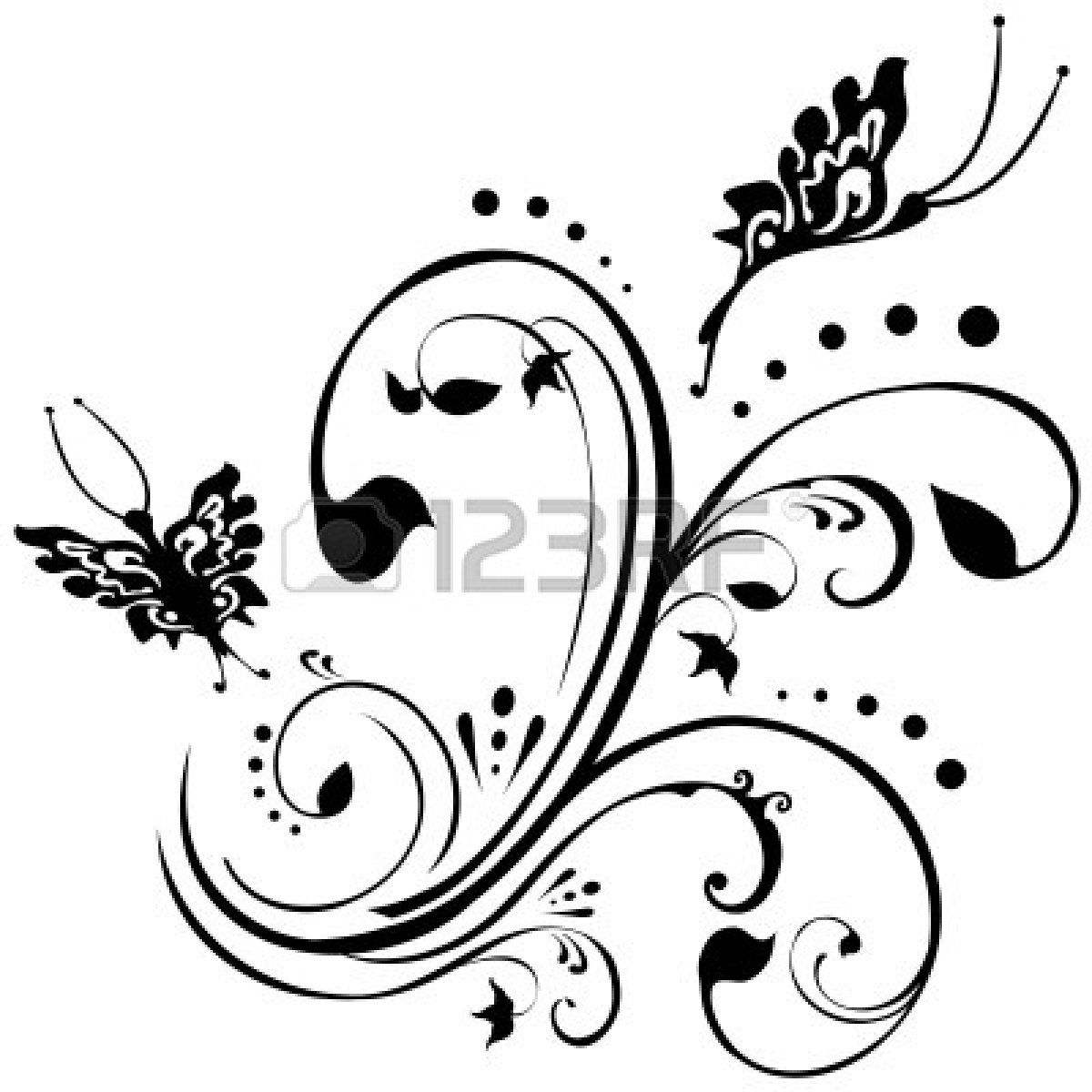 White on black tattoo ideas butterfliesflutteringaroundfoliagefloraldesigninblack